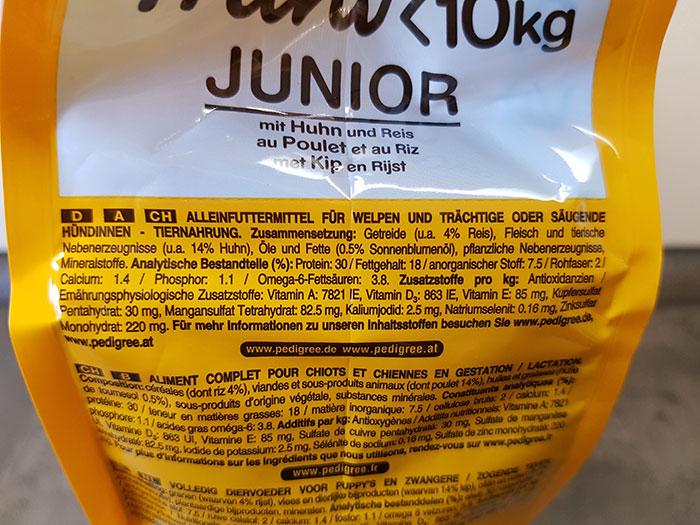 Pedigree Junior mit Huhn & Reis