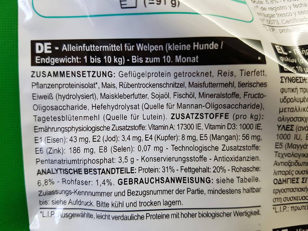 Futterdeklaration des Welpenfutters